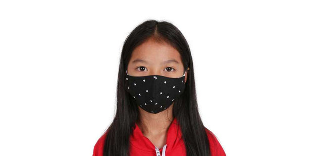 Kids Reusable Face Mask - Black Heart Cotton Mouth Mask with Filter Pocket-Face Mask-Lannaclothesdesign Shop-Age 5-8 Years-Black-Lannaclothesdesign Shop