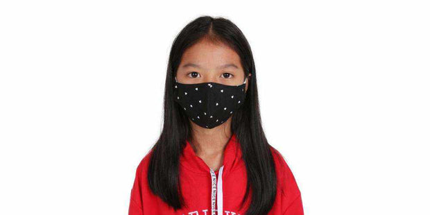 Kids Reusable Face Mask - Black Heart Cotton Mouth Mask with Filter Pocket-Face Mask-Lannaclothesdesign Shop-Age 9-12 Years-Black-Lannaclothesdesign Shop