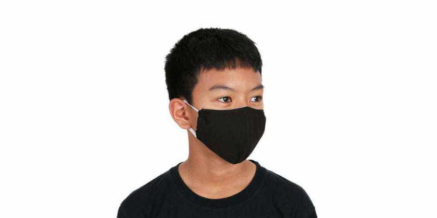 Kids Reusable Mouth Mask Black Cotton Face Mask with Filter Pocket-Face Mask-Lannaclothesdesign Shop
