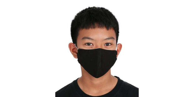 Kids Reusable Mouth Mask Black Cotton Face Mask with Filter Pocket-Face Mask-Lannaclothesdesign Shop-Lannaclothesdesign Shop