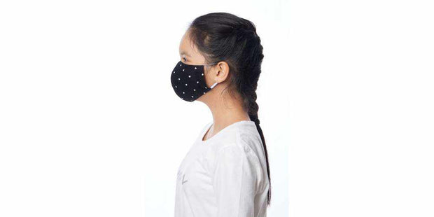 Kids Set of 5 Black Heart Cotton Face Masks with Filter Pocket-Face Mask-Lannaclothesdesign Shop