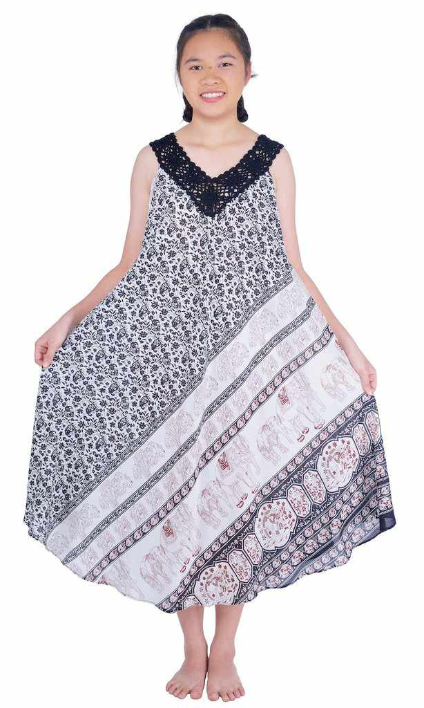Long Sleeveless Dress Casual Fit V-Neck Crochet Lace-Dress-Lannaclothesdesign Shop