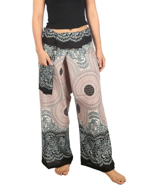 Mandala Fisherman Yoga Pants-Fisherman-Lannaclothesdesign Shop-Small-Medium-Black White-Lannaclothesdesign Shop