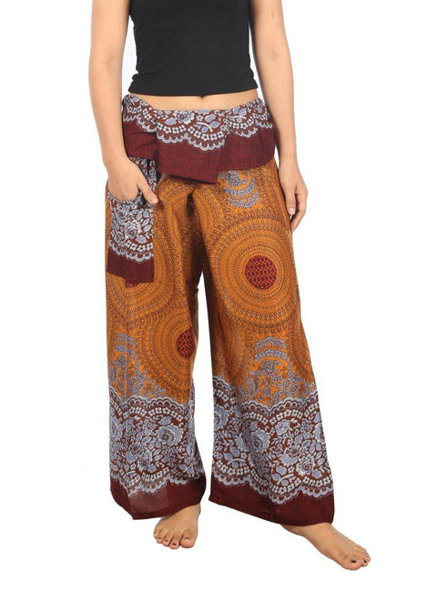 Mandala Fisherman Yoga Pants-Fisherman-Lannaclothesdesign Shop-Small-Medium-Brown-Lannaclothesdesign Shop