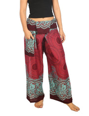 Mandala Fisherman Yoga Pants-Fisherman-Lannaclothesdesign Shop-Small-Medium-Burgundy-Lannaclothesdesign Shop
