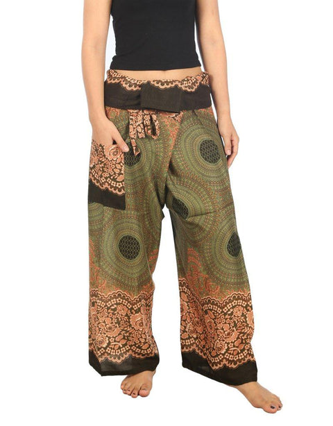 Mandala Fisherman Yoga Pants-Fisherman-Lannaclothesdesign Shop-Small-Medium-Green-Lannaclothesdesign Shop