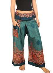 Mandala Fisherman Yoga Pants-Fisherman-Lannaclothesdesign Shop-Small-Medium-Teal-Lannaclothesdesign Shop