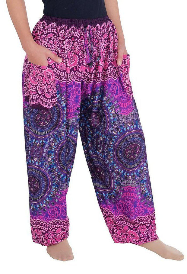 Mandala Harem Pants with Drawstring-Drawstring-Lannaclothesdesign Shop-Lannaclothesdesign Shop