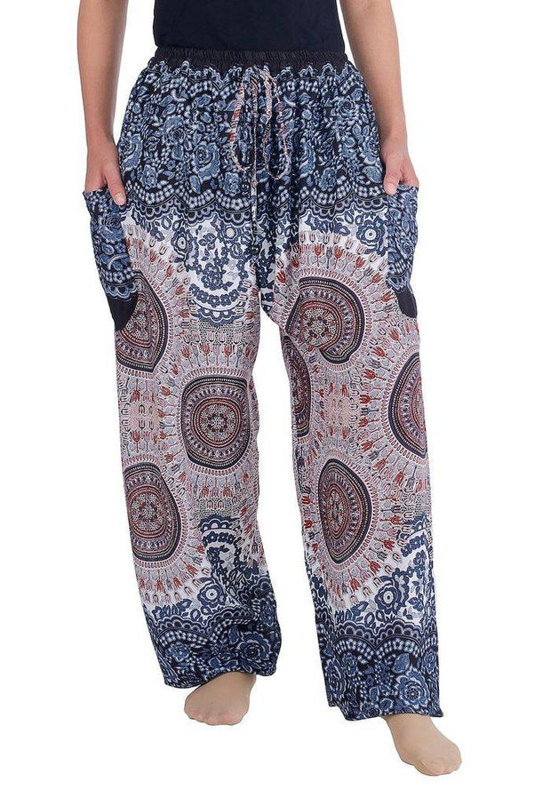 Mandala Harem Pants with Drawstring-Drawstring-Lannaclothesdesign Shop-Small-Black White-Lannaclothesdesign Shop