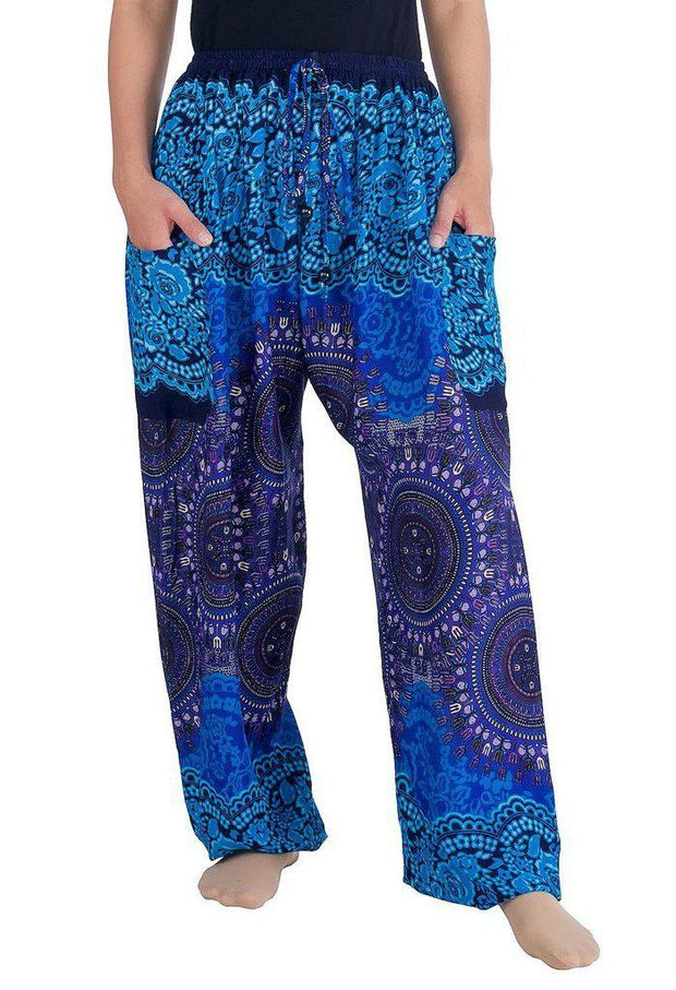 Mandala Harem Pants with Drawstring-Drawstring-Lannaclothesdesign Shop-Small-Blue-Lannaclothesdesign Shop