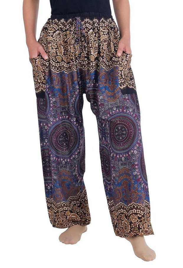 Mandala Harem Pants with Drawstring-Drawstring-Lannaclothesdesign Shop-Small-Brown-Lannaclothesdesign Shop