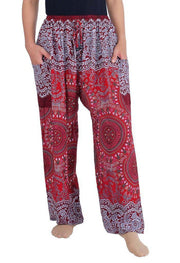 Mandala Harem Pants with Drawstring-Drawstring-Lannaclothesdesign Shop-Small-Burgundy-Lannaclothesdesign Shop