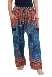 Mandala Harem Pants with Drawstring-Drawstring-Lannaclothesdesign Shop-Small-Teal-Lannaclothesdesign Shop