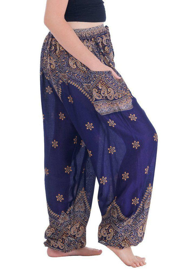 Peacock Flower Harem Pants-Drawstring-Lannaclothesdesign Shop-Lannaclothesdesign Shop