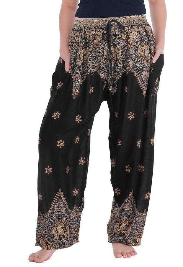 Peacock Flower Harem Pants-Drawstring-Lannaclothesdesign Shop-Small-Black-Lannaclothesdesign Shop