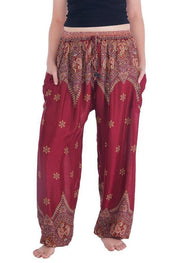 Peacock Flower Harem Pants-Drawstring-Lannaclothesdesign Shop-Small-Burgundy-Lannaclothesdesign Shop
