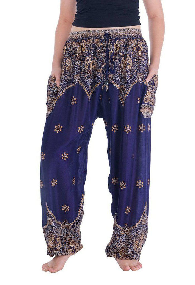 Peacock Flower Harem Pants-Drawstring-Lannaclothesdesign Shop-Small-Dark Blue-Lannaclothesdesign Shop