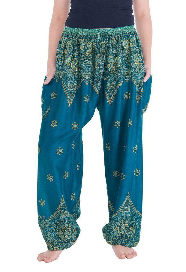 Peacock Flower Harem Pants-Drawstring-Lannaclothesdesign Shop-Small-Teal-Lannaclothesdesign Shop