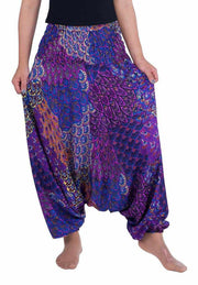 Peacock Harem Pants-Harem Jumpsuit-Lannaclothesdesign Shop-Small-Medium-Purple-Lannaclothesdesign Shop
