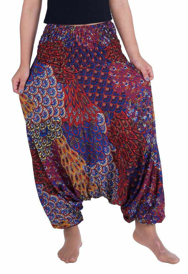Peacock Harem Pants-Harem Jumpsuit-Lannaclothesdesign Shop-Small-Medium-Red-Lannaclothesdesign Shop