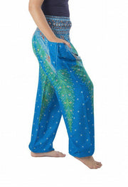 Peacock Harem Pants-Smocked-Lannaclothesdesign Shop-Lannaclothesdesign Shop