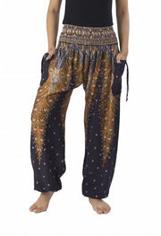 Peacock Harem Pants-Smocked-Lannaclothesdesign Shop-Small-Black-Lannaclothesdesign Shop