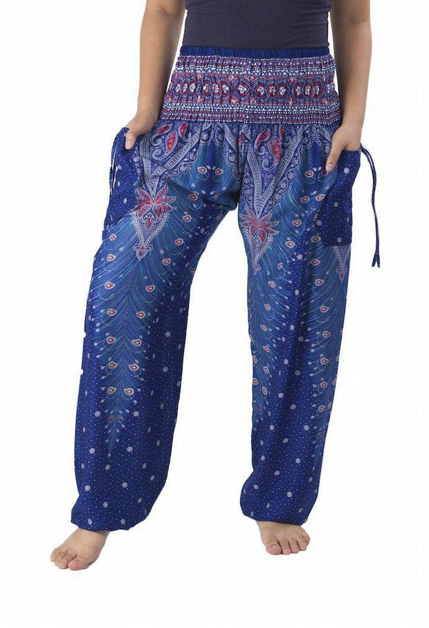 Peacock Harem Pants-Smocked-Lannaclothesdesign Shop-Small-Blue-Lannaclothesdesign Shop