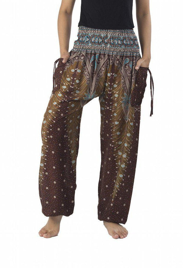 Peacock Harem Pants-Smocked-Lannaclothesdesign Shop-Small-Brown-Lannaclothesdesign Shop