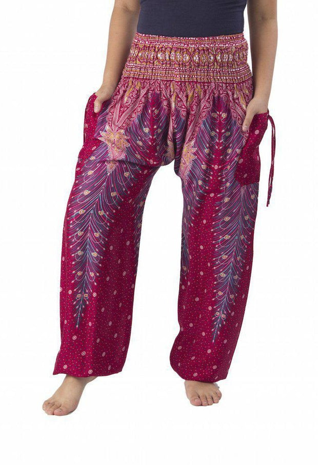Peacock Harem Pants-Smocked-Lannaclothesdesign Shop-Small-Burgundy-Lannaclothesdesign Shop