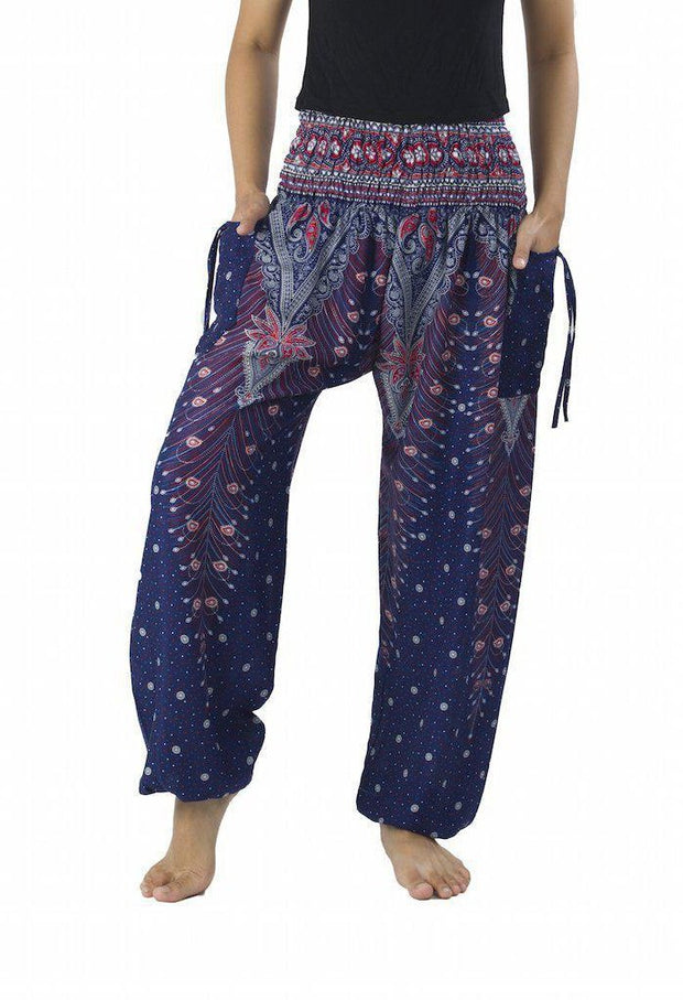 Peacock Harem Pants-Smocked-Lannaclothesdesign Shop-Small-Dark Blue-Lannaclothesdesign Shop