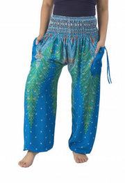 Peacock Harem Pants-Smocked-Lannaclothesdesign Shop-Small-Light Blue Green-Lannaclothesdesign Shop
