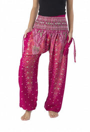 Peacock Harem Pants-Smocked-Lannaclothesdesign Shop-Small-Pink-Lannaclothesdesign Shop