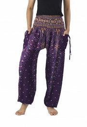 Peacock Harem Pants-Smocked-Lannaclothesdesign Shop-Small-Purple-Lannaclothesdesign Shop