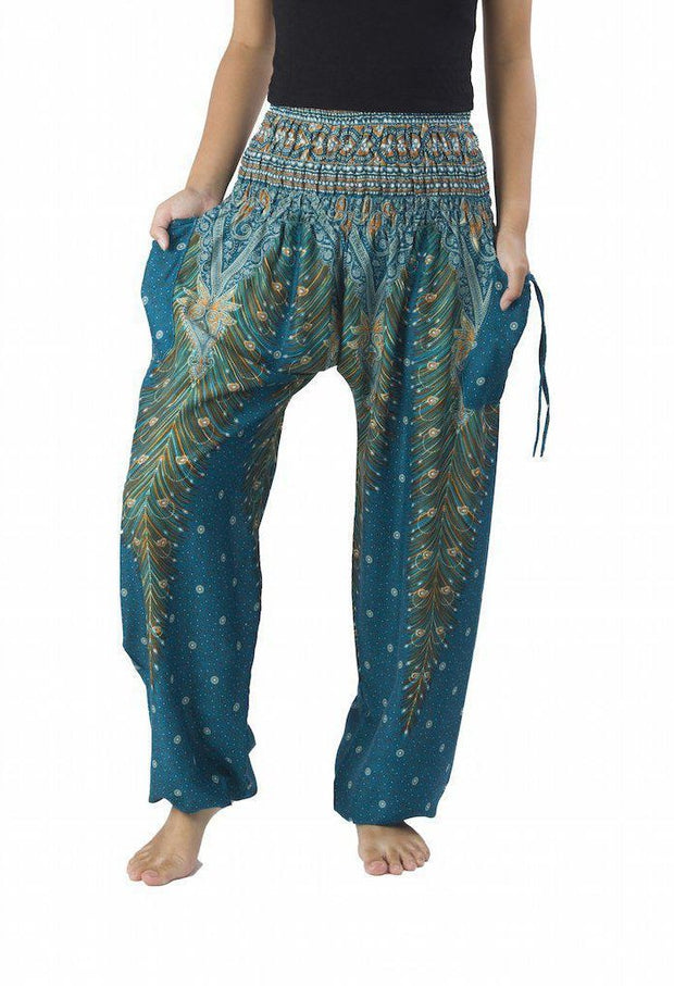 Peacock Harem Pants-Smocked-Lannaclothesdesign Shop-Small-Teal-Lannaclothesdesign Shop