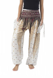 Peacock Harem Pants-Smocked-Lannaclothesdesign Shop-Small-White-Lannaclothesdesign Shop