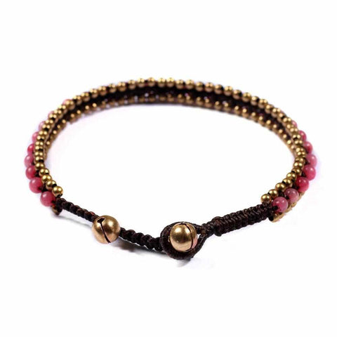 Pink Boho Anklet-Anklet-Lannaclothesdesign Shop-Lannaclothesdesign Shop