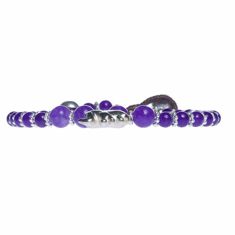 Purple Amethyst Beads and Silver Bells Bracelet-Bracelet-Lannaclothesdesign Shop