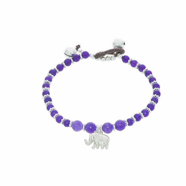 Purple Amethyst Beads and Silver Bells Bracelet-Bracelet-Lannaclothesdesign Shop-Lannaclothesdesign Shop