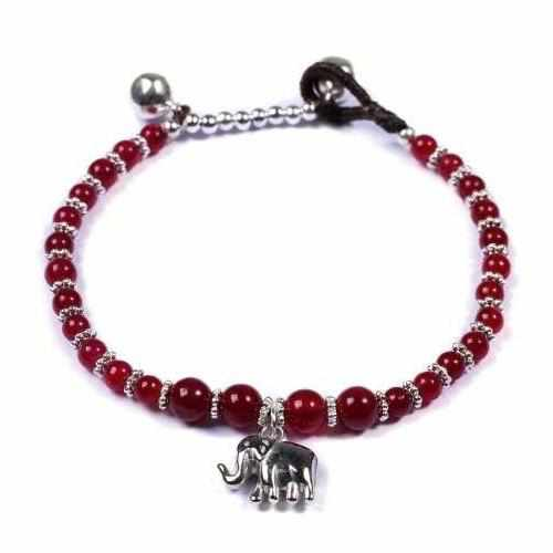 Red Agate Beads and Silver Bells Bracelet-Bracelet-Lannaclothesdesign Shop