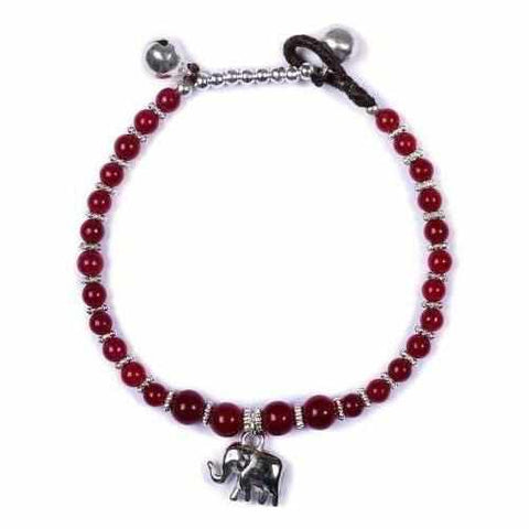 Red Agate Beads and Silver Bells Bracelet-Bracelet-Lannaclothesdesign Shop-Lannaclothesdesign Shop