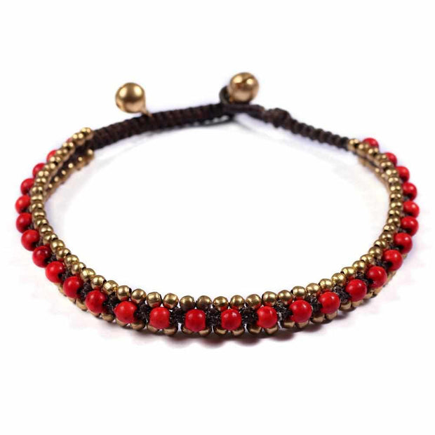 Red Bohemian Anklet-Anklet-Lannaclothesdesign Shop