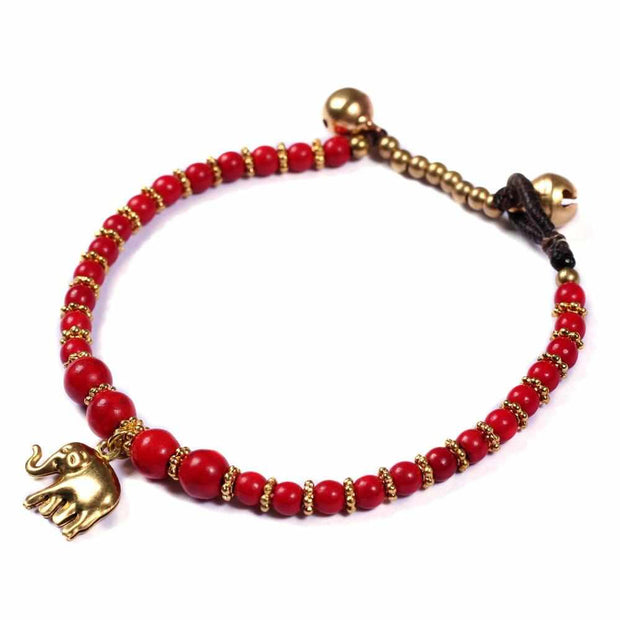 Red How Lite Beads and Brass Bells Bracelet-Bracelet-Lannaclothesdesign Shop-Lannaclothesdesign Shop