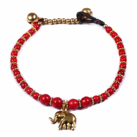 Red How Lite Beads and Brass Bells Bracelet-Bracelet-Lannaclothesdesign Shop