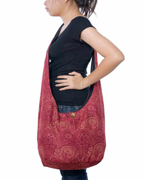 Red Print Sling Bag-Bags-Lannaclothesdesign Shop-Lannaclothesdesign Shop