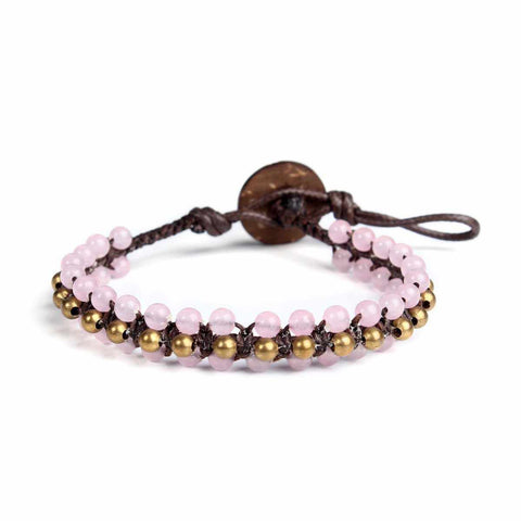 Rose Quartz Beads and Brass Boho Bracelet-Bracelet-Lannaclothesdesign Shop-Lannaclothesdesign Shop