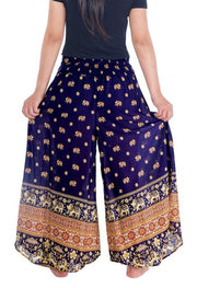 "Small Elephant Design Palazzo Trousers-Palazzo-Lannaclothesdesign Shop-Large-Dark Blue-Length 37""-Lannaclothesdesign Shop"