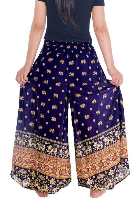 Small Elephant Design Palazzo Trousers-Palazzo-Lannaclothesdesign Shop