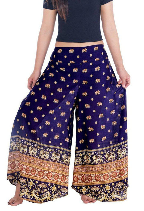 "Small Elephant Design Palazzo Trousers-Palazzo-Lannaclothesdesign Shop-Small-Dark Blue-Length 37""-Lannaclothesdesign Shop"