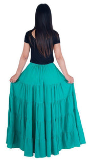 Teal Long Cotton Ruffle Maxi Skirt-Cotton Skirt-Lannaclothesdesign Shop-Lannaclothesdesign Shop