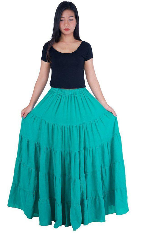 Teal Long Cotton Ruffle Maxi Skirt-Cotton Skirt-Lannaclothesdesign Shop-Length 37 Inches-Lannaclothesdesign Shop